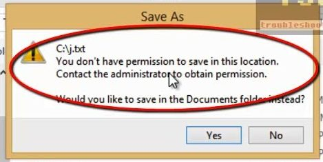 "SOLVED: ""You don't have permission to save in this location"""