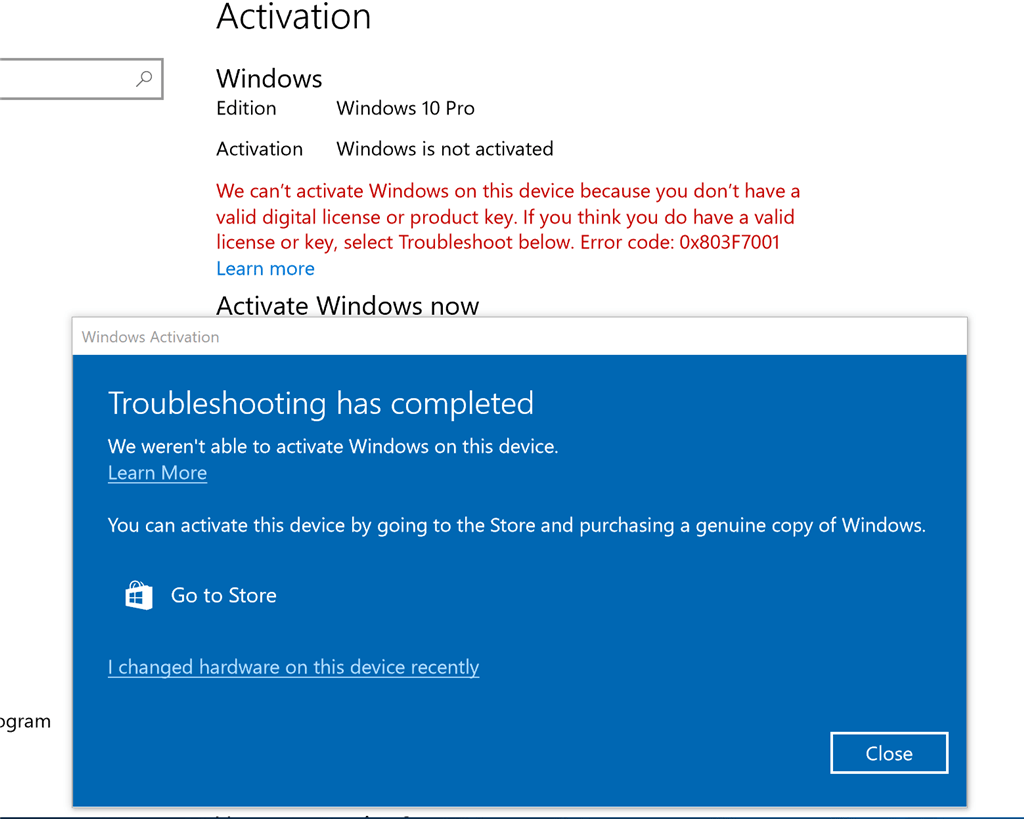 Fix Windows 10 deactivated itself after Update 1