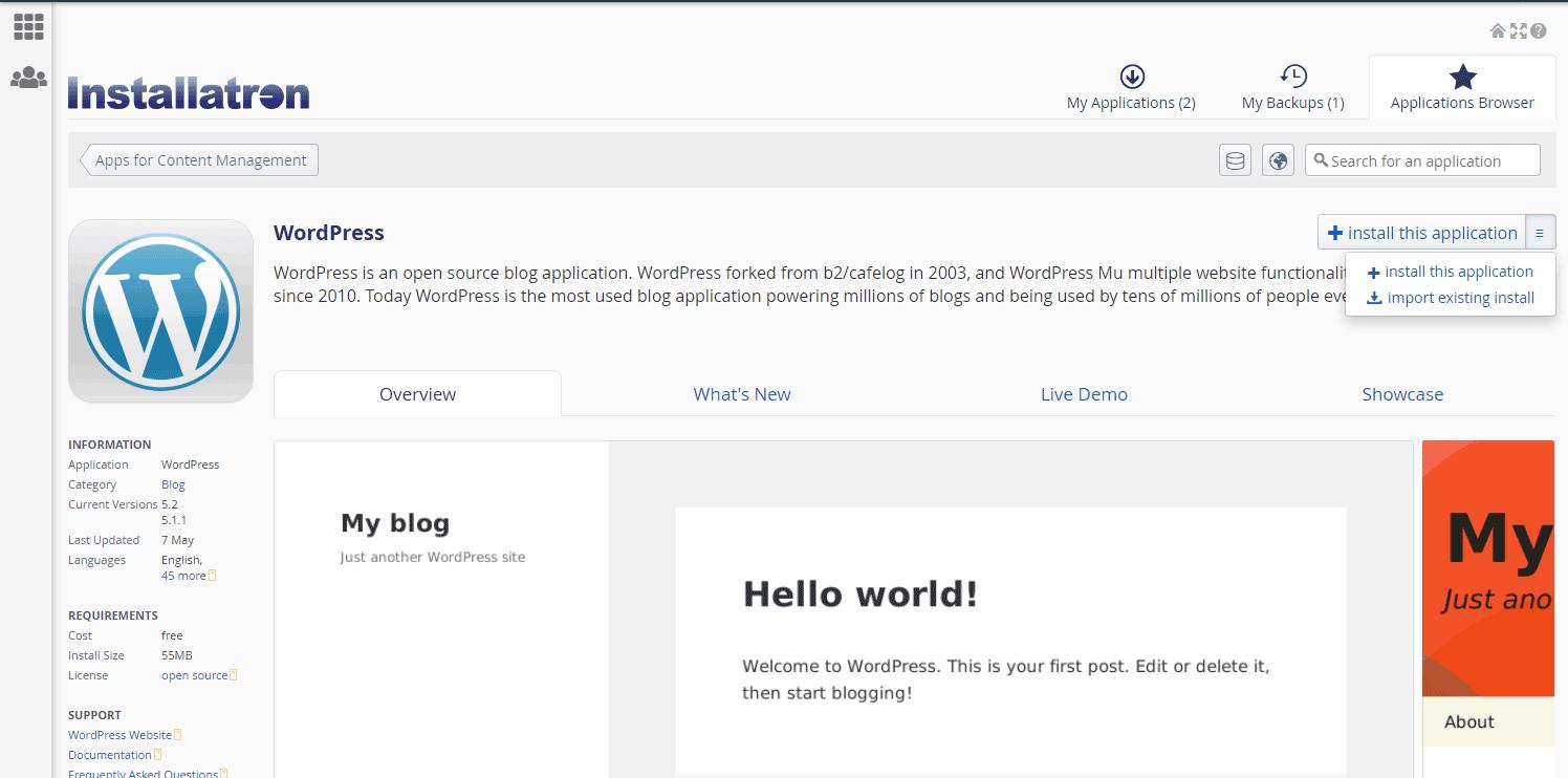 Keeping WordPress updated with Installatron
