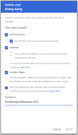 G suite delete user and transfer files