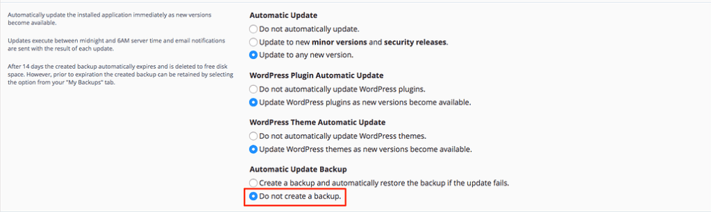 Installatron automatic backup