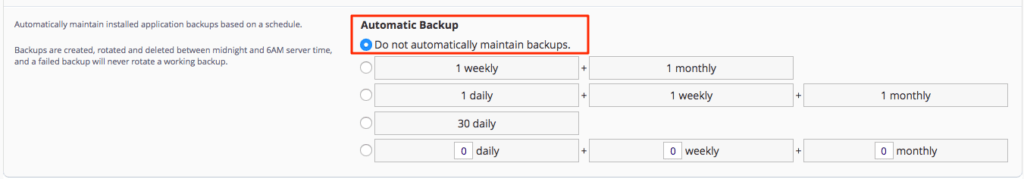 installatron automatic backup retention